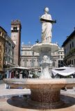 Ancient fountain with the Madonna Verona Stock Photo