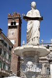 Ancient fountain with the Madonna Verona Stock Photos