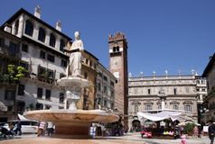 Ancient fountain with the Madonna Verona Royalty Free Stock Photos