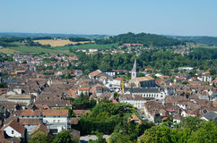 Ancient French town Orthez and its outskirts from above Royalty Free Stock Photos