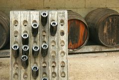 Ancient french wine and barrels Stock Photo