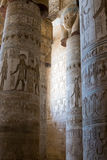 Ancient fresco on the columns of the temple. Of Hathor in Egypt Royalty Free Stock Images