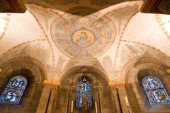 Ancient fresco in an even older Romanesque crypt Stock Photos