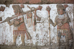 Ancient fresco in Huaca de la Luna, Trujillo Stock Images