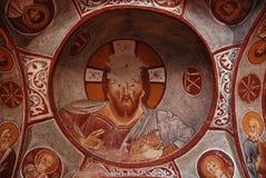 Ancient fresco of Jesus royalty free stock photos