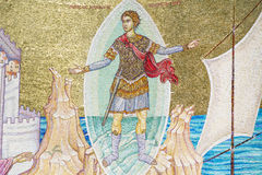 Ancient fresco on a mosaic wall -Apostle Paul Monument Royalty Free Stock Image
