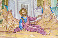 Ancient fresco on a mosaic wall -Apostle Paul Monument Royalty Free Stock Images