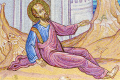 Ancient fresco on a mosaic wall -Apostle Paul Monument Royalty Free Stock Photo