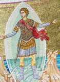 Ancient fresco on a mosaic wall -Apostle Paul Monument Stock Photos