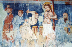 Ancient fresco, murals in Ghelinta, Romania Stock Photos