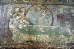 Ancient fresco, murals in Malancrav church. Transylvania, Romani Royalty Free Stock Photos
