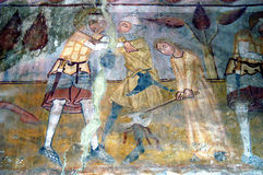 Ancient fresco, murals in Transylvania Royalty Free Stock Photos