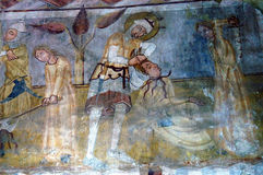 Ancient fresco, murals in Transylvania Royalty Free Stock Image