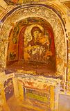 The ancient fresco of Our Lady, St Catherine Monastery, Sinai, E. ST CATHERINE, EGYPT - DECEMBER 25, 2017: Tiny niche in a wall of God-Trodden Mount Sinai St stock photos