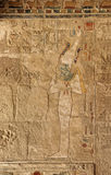 Ancient fresco with pharaoh. Pharaoh fresco painting in the Temple of Queen Hatshepsut, Luxor, Egypt royalty free stock images