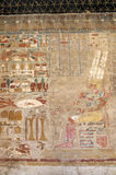 Ancient fresco of pharaoh. Pharaoh accepting gifts fresco painting in the Temple of Queen Hatshepsut, Luxor, Egypt stock image
