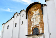 Ancient fresco on the wall of the Cathedral of St. Sophia, Novgo Stock Images