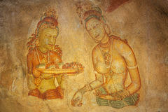 Ancient fresco with women at Sigirya, Sri Lanka Royalty Free Stock Image