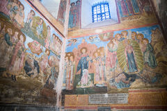 Ancient frescoes in assumption Cathedral of the Kirillo-Belozers Stock Photo