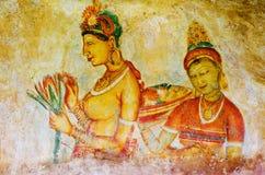 Ancient frescos on mount Sigiriya ( Ceylon ) Royalty Free Stock Photo