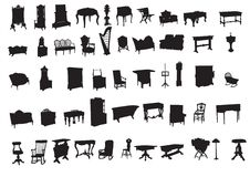 Ancient furniture. Illustration of silhouettes ancient furniture Stock Photos