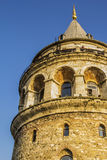 Ancient Galata Tower at sunset Stock Images