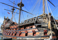 Ancient galleon. An ancient galleon docked in a italian harbour Stock Photos
