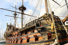 Ancient galleon. Docked in a italian harbour Stock Images