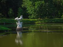 Ancient garden sculpture in the middle of the pond. Oranienbaum. Russia. stock photo