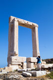 Ancient gate of Apollon temple at the island of Na Stock Photo