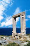 Ancient gate of Apollon temple at the island of Naxos Stock Photo