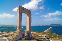 Ancient gate of Apollon temple at the island of Naxos. In Greece Stock Image