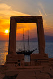 Ancient gate of Apollon temple at the island of Naxos. In Greece Royalty Free Stock Photography