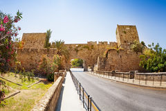 Ancient gate in defensive wall of old town, Rhodes Royalty Free Stock Photos