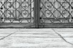 Ancient gate and lattice of monochrome color Royalty Free Stock Photography