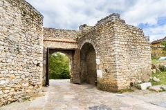 Ancient gate on Old fortress ruins of tzar Samuel in Ohrid. Macedonia Stock Photos