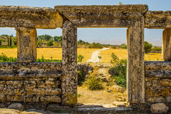 An ancient gate. Of the ruins of Hierapolis Stock Photos