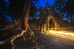 Ancient Gates of Bayon temple in Angkor complex Stock Images