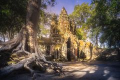 Ancient Gates of Bayon temple in Angkor complex stock image