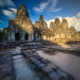 Ancient Gates of Bayon temple in Angkor complex stock photo