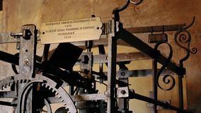Ancient gear and clockwork in the clock tower of Mantua