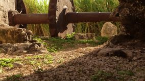 Ancient gear wheel sitting next to 18th century aqueduct Montego Bay, Jamaica stock video