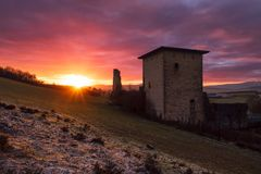 Ancient Gebara tower in Alava, at sunrise in a cold day Stock Photography