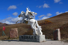 Ancient generals statue. ,take photo in Ulan Buh China Royalty Free Stock Photography