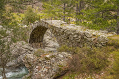 Ancient Genoese bridge over river in Corsica Stock Photography