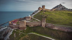 Ancient Genoese Fortress In The City Of Sudak. Aerial shot of the Genoese fortress in Sudak, Crimea. Consular castle and the fortification wall of the upper tier stock video