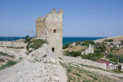 Ancient Genoese fortress in Feodosiya in the Crimea. Russia Stock Image