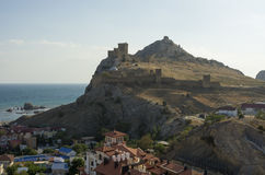 Ancient Genoese fortress in Sudak town. Crimea Stock Photo