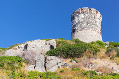 Ancient Genoese tower near Ajaccio, Corsica Royalty Free Stock Photos