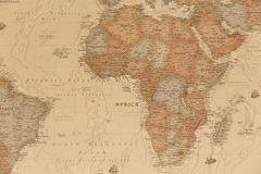 Ancient geographic map of Africa. With names of the countries Royalty Free Stock Photography